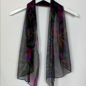 Black sheer short scarf with multi colored flowers